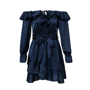 Women Dress Bow Long Sleeve Elegant Vintage Dress