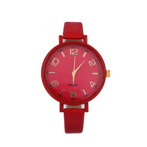 Leather Band Round Wrist Watch