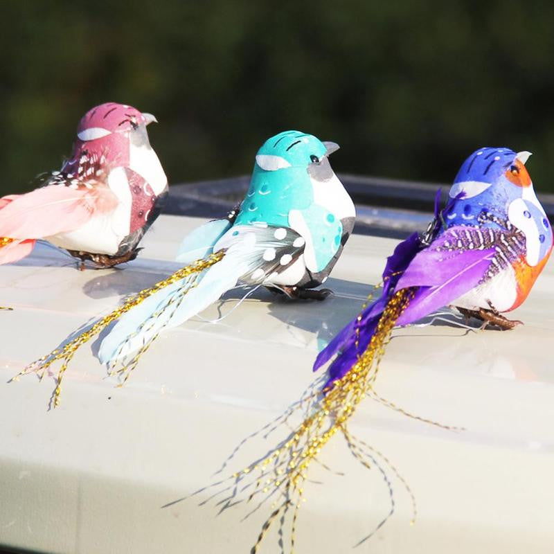 Real Feather Colorful Birds for Home Gardening Decoration