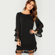 Load image into Gallery viewer, Elegant Fringe Cut Mini Dress