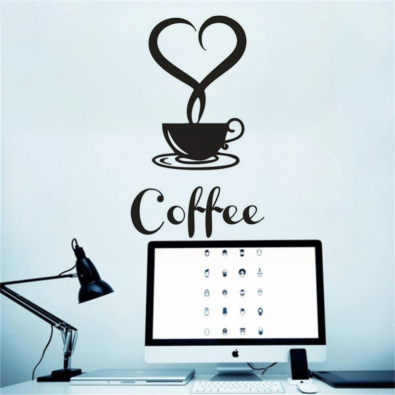 Coffee Cup Decals Removable Vinyl Wall Sticker