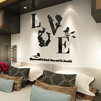Home Decor 3D Mirror Love Wall Stickers Quote