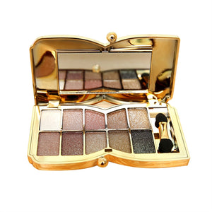 10 Colors Flash Glitter Eyeshadow Palette With Brush & Mirror