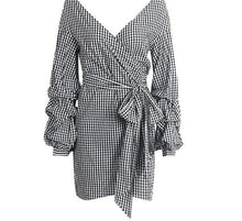 Load image into Gallery viewer, Off shoulder plaid wrap Elegant Dress