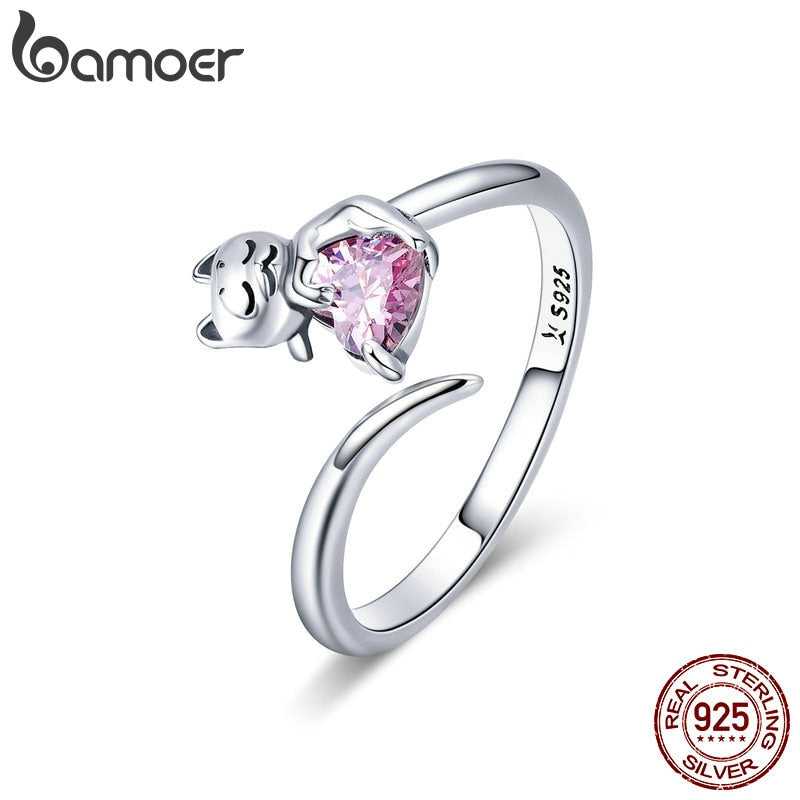 Authentic 925 Sterling Silver Adorable Cat Pink Ring