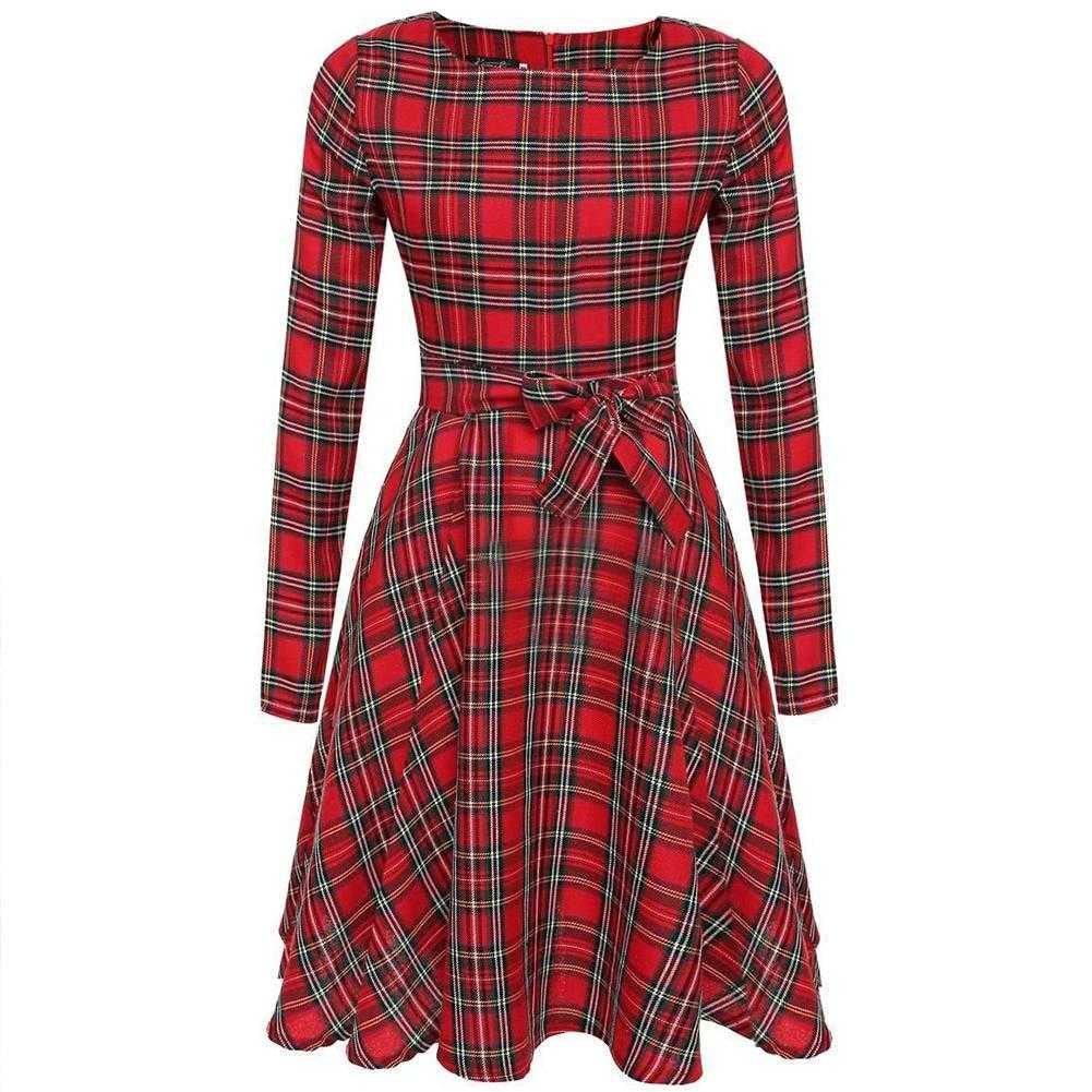 Women Retro Vintage Long Sleeve Plaid Cocktail Evening Party Waist Long Dress