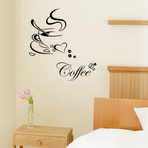 Art DIY Coffee Cup Heart Cafe Wall Sticker