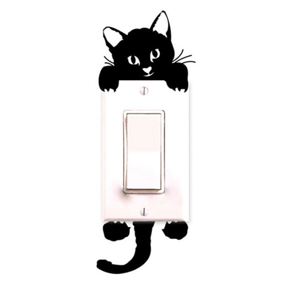 New Cute Cat Wall Stickers Light Switch Decor Decals