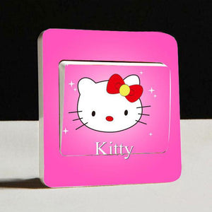 KT cat Light Side Switch Stickers Diy Detachable Wall Stickers for Kids Room