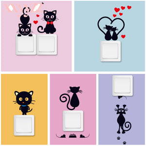 Lovely Cat Light Switch Wall Stickers For Kids Rooms
