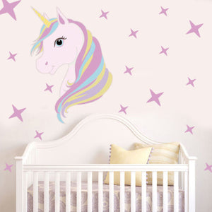 Cartoon Cute Unicorn Bling Stars Wall Decal Art