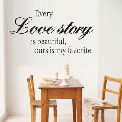 Classic Wall Sticker Every Love Story Quote Art