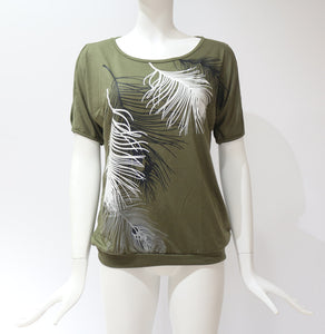 O-neck Feather T-shirt 2019