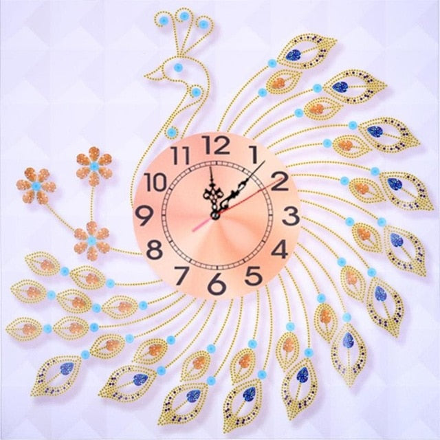 DIY Embroidery Peacock Hanging Wall Clock