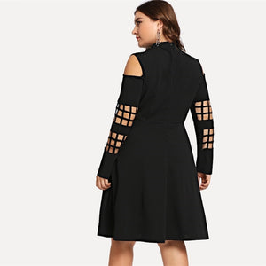 Black Mock-Neck A Line Party Dress