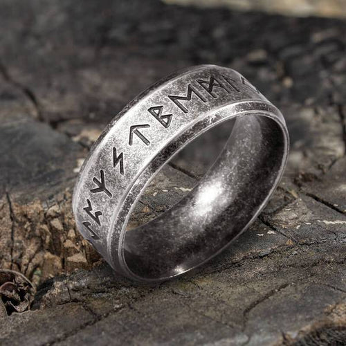 Stainless Steel Viking Rune Ring - Keyblee