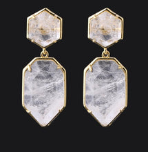 Load image into Gallery viewer, Lux Natural Stone Crystal Drop Studs - Keyblee