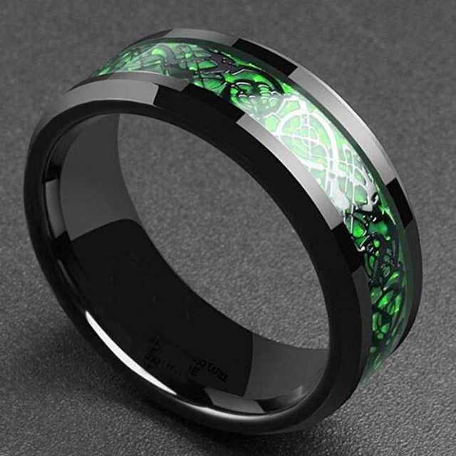 Stainless Steel Green Dragon Ring - Keyblee