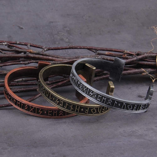 Alloy Nordic Rune Bangle - Keyblee