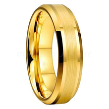 Load image into Gallery viewer, Gold Tungsten Rings with Beveled Edges - Keyblee