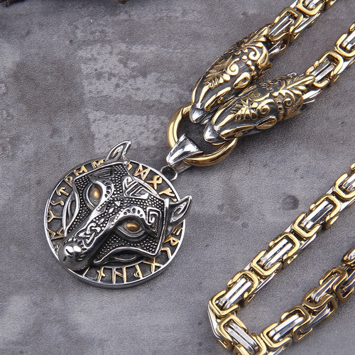 Stainless Steel Wolf head amulet - Keyblee