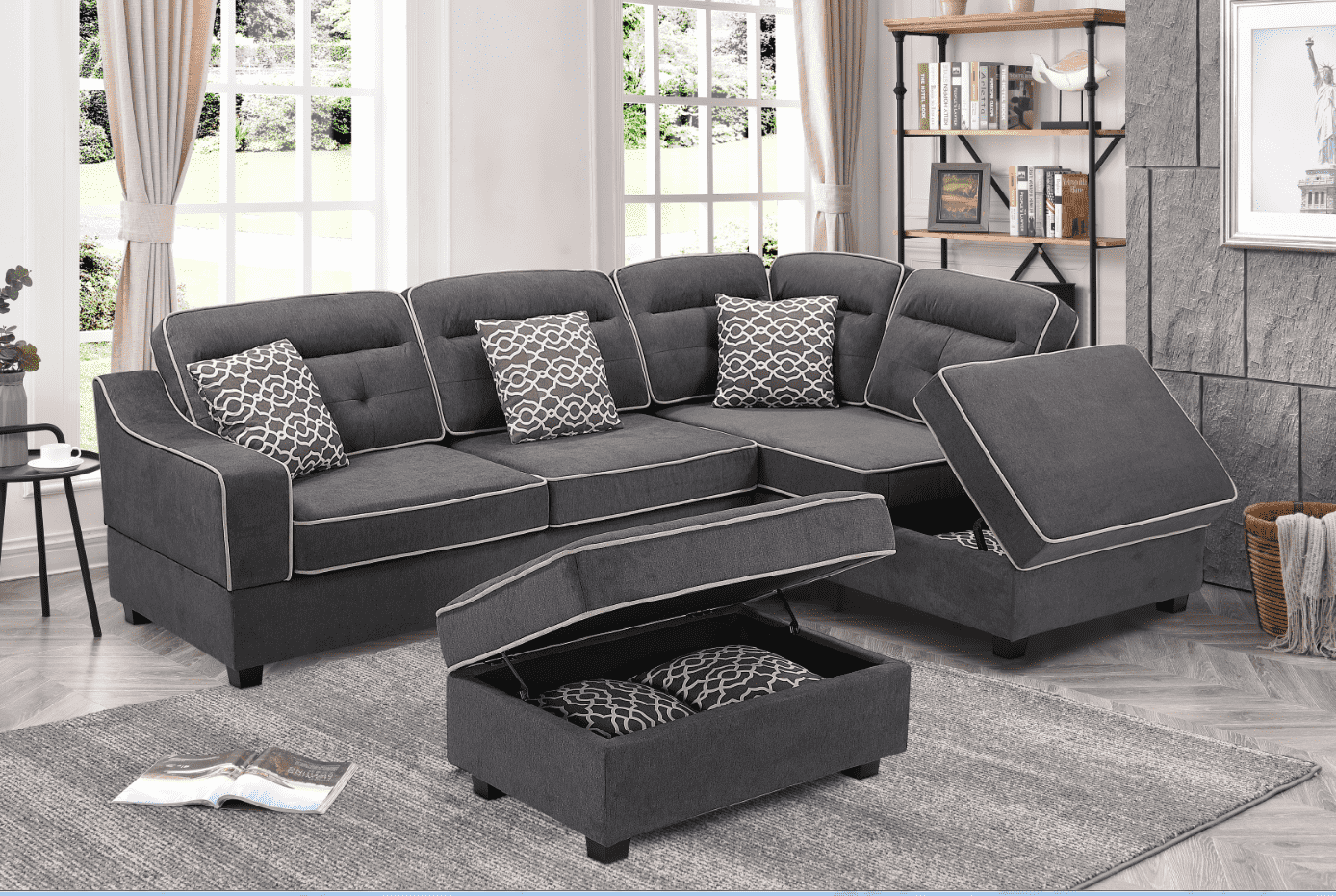 Cory Fabric Sectional with Storage Ottomans - Richicollection Furniture Warehouse