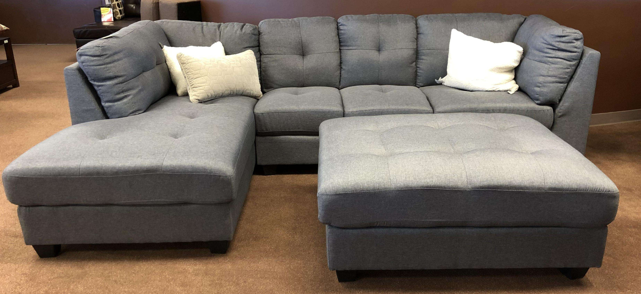Lilly Fabric Sectional with Ottoman - Richicollection Furniture Warehouse