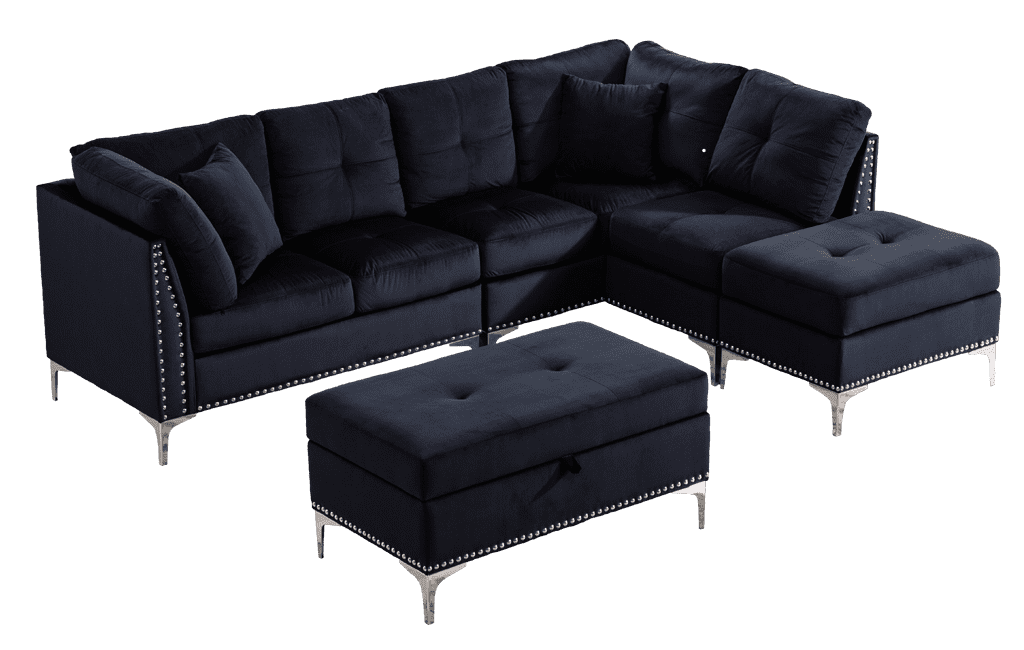 Jessica Fabric Sectional + Ottoman - Richicollection Furniture Warehouse