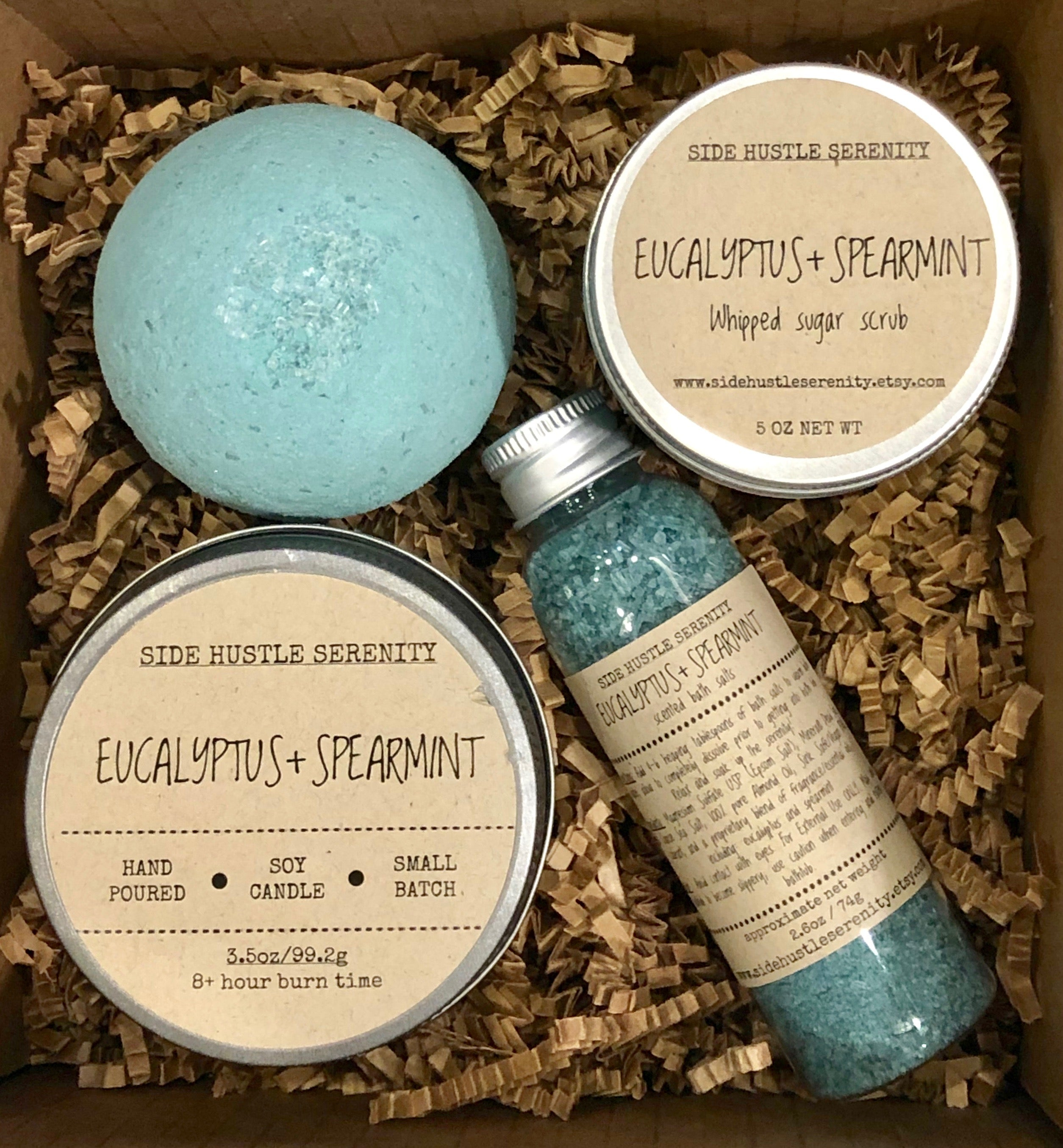 Mini Spa Gift Set Eucalyptus Spearmint Gift Set Pamper Box Gift Side Hustle Serenity
