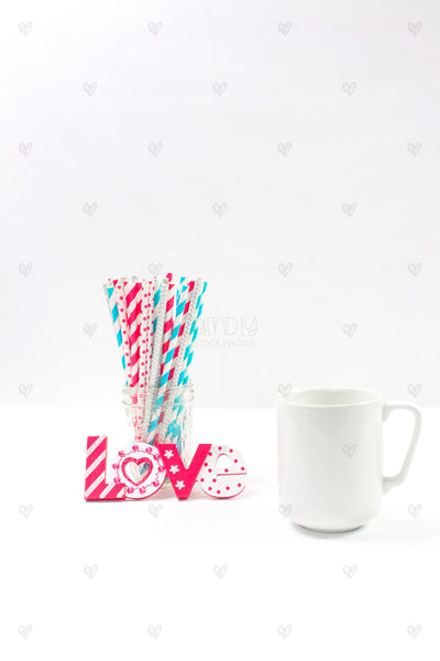 Pink Teal Straws Product Mockups {12 Photos}