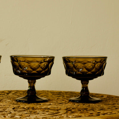 'Perspective' Smokey Brown Champagne & Dessert Vintage Glasses by Noritake  Set of 4