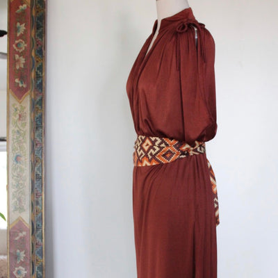Be My Muse Vintage Rust Plunging Dress