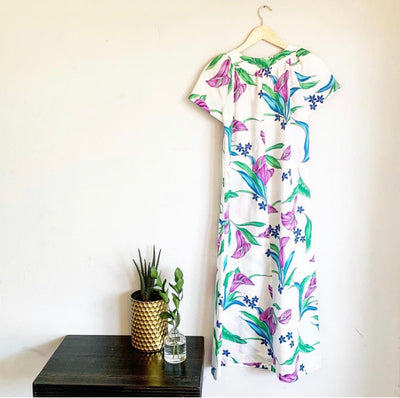 Purple Pua Vintage Hawaiian Anthurium Tropical Maxi Dress