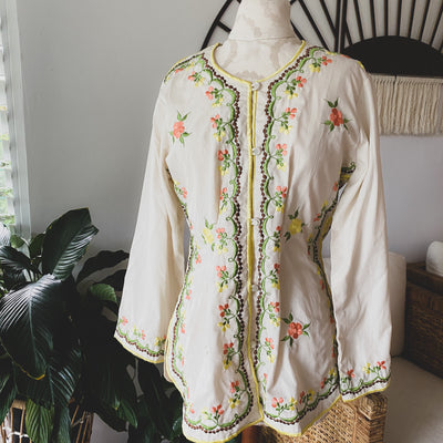 Bright Side of the Road Vintage Ivory Embroidered Tunic Top