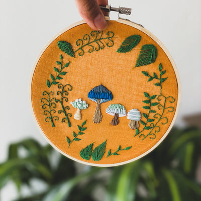 Mushroom Hand Embroidered Wall Art One-of-a-Kind