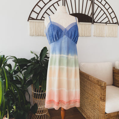 Tied Up in Rainbows Multicolored Vintage Slip Dress