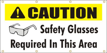 A133 Caution - Safety Glasses Required