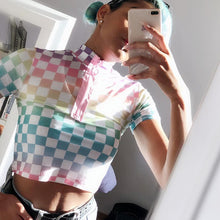 """RAINBOW ROAD"" MESH CROP TOP"