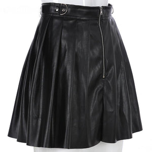 """PLEATED LEATHER"" SKIRT"
