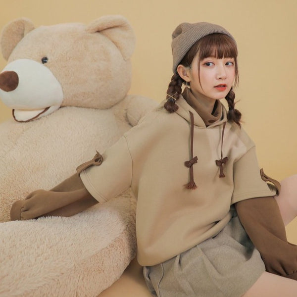 """KAWAII BEAR"" CROSS BAG HOODIE"