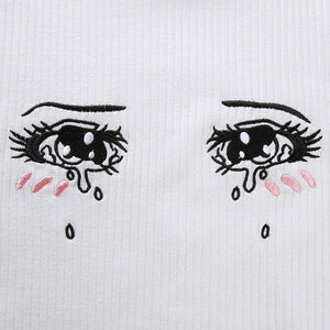 """ANIME EYES"" EMBROIDERED T SHIRT"