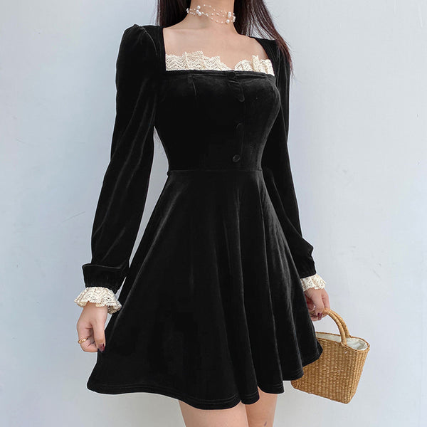 """VALERIE"" LACE TRIM DRESS"
