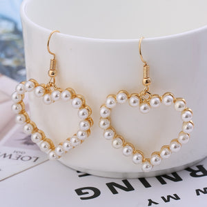 """PEARL HEART"" EARRINGS"