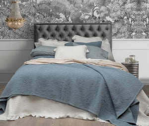 Blue Stonewash Jardin Coverlet & Cushion