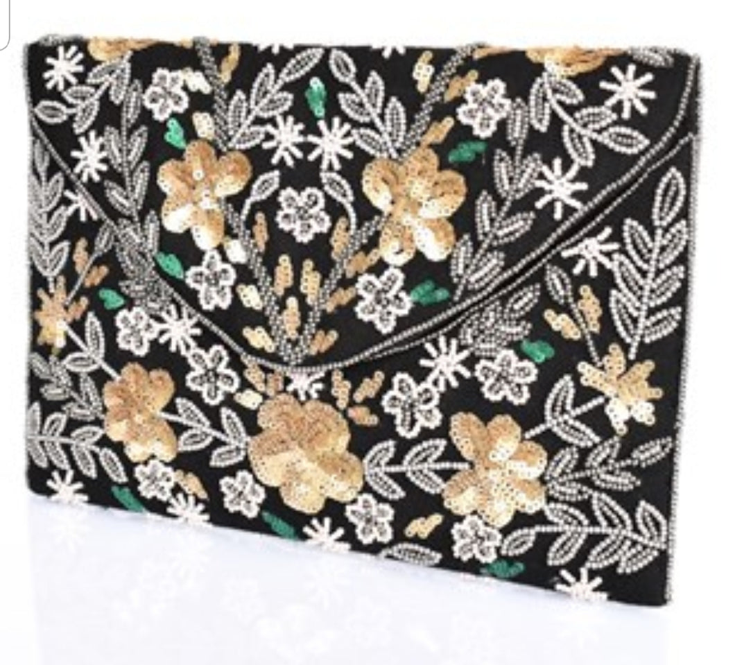 Beaded Floral Foldover Clutch