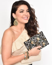 Load image into Gallery viewer, Beaded Floral Foldover Clutch