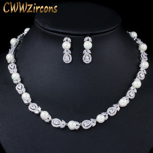 CWWZircons Luxury Big Round Leaf Cubic Zircon Necklace Bridal Pearl Jewelry Sets Women Wedding Party Costume Jewellery T363
