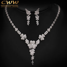 Load image into Gallery viewer, 2019 New Luxury AAA Cubic Zirconia Micro Paved Big Bridal Earrings Necklace Jewelry Sets For Wedding Engagement Party T250