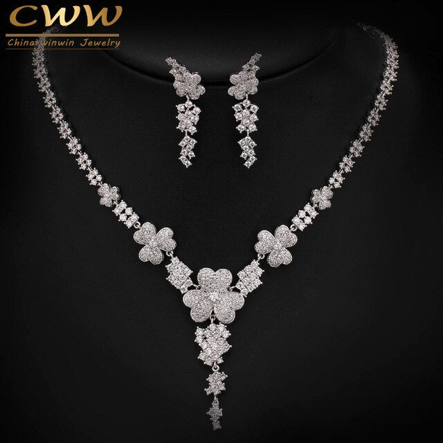2019 New Luxury AAA Cubic Zirconia Micro Paved Big Bridal Earrings Necklace Jewelry Sets For Wedding Engagement Party T250