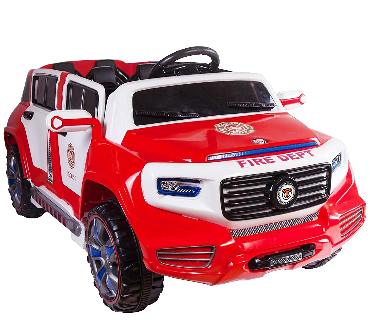 Car For Kids >> 4 Door Ride On Two Seater Fire Truck Electric Toy Car For Kids 12v Battery Powered Led Lights Mp3 Rc Parental Remote Controller Suitable For Boys